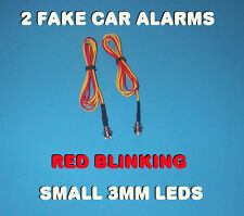 FAKE CAR ALARM LED LIGHT ~ 3mm ~CHROME RED FLASHING 12v 24v BLINK BLINKING FLASH