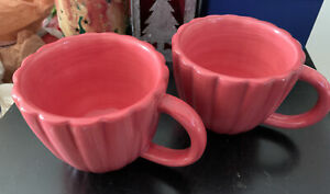 Anthropologie Set Of Two Rose Coffee Mugs /Cups New