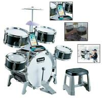 Kids Drum Set Kit with Lights Stool Cymbal Kick Pedal Instrument Percussion 44