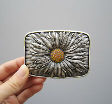 Original Antique Silver Plated Rhinestones Blooming Daisy Belt Buckle