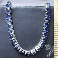 23.37 Ct Blue Sapphire Tennis Bracelet Women Jewelry Gift Box 18K Gold Plated