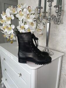 Christian Louboutin TS Croc Spikes Combat Black Lace Up Boots Sz 38 1/2 US 8 😍