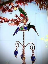 """colored glass and metal windchimes 20"""" length, 4 to 5"""" wide"""