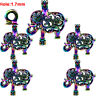 (5pcs Pack) Rainbow Color Elephant Locket Beads Pearl Cage Pendant /C21
