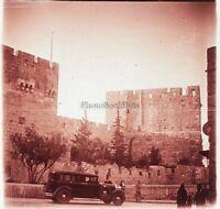 Gerusalemme Terra Sainte Automobile Antica Foto Placca Lente Stereo 1935
