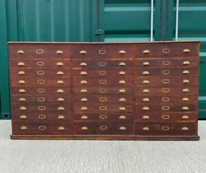 Very Large Antique Oak Victorian Museum Collectors Plan Chest Bank of Drawers