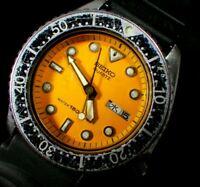 Vintage SEIKO 150m Quartz Diver 6458-600A Orange Dial *For Parts* #174d