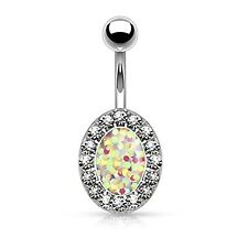White Jeweled Opal Oval Belly Button Ring Bokeh Glitter Navel Body Piercing