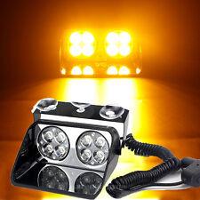 8 LED Amber Car Emergency Warning Hazard Strobe Dash Flash Lights Lamp Yellow