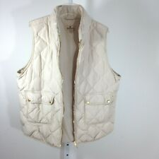 Woolrich Women's Puffer Vest 2XL XXL Beige Quilted Full Zip Duck Down Feathers