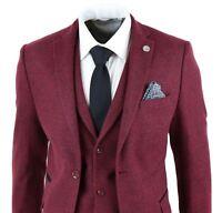 Mens Wine Maroon Check Herringbone Tweed Vintage Tailored Fit 3 Piece Suit Smart