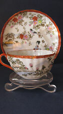 Japanese Thin Porcelain Hand Enameled Cup & Saucer  w/ bird river scene ladies