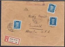DR Mi Nr 409 MeF auf tollem Ausland R- Brief Berlin - Nebraska Aks New York 1927