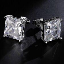 Wedding Fashion Men Square Unisex Mens White Gold Filled Stud Earring Earrings