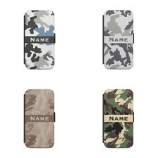 Flip wallet phone case Personalised name initial Army Camouflage Pattern L09