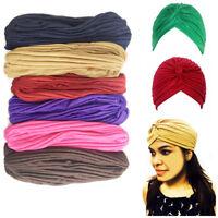 Hair Turban Head Cap Chemo Hijab Cover Bandana Pleated Wrap Band Stretchy Style