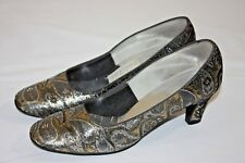 Vintage Town & Country Metallic Jacquard Paisley Shoes Heels Size 8 60s