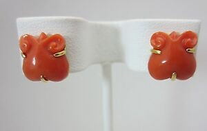 Vintage 14K Yellow Gold Salmon Colored Coral Mouse Earrings Studs