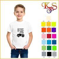 ♡♥ Bügelbild  Hotfix Kleiner / Großer Bruder Traktor  8x9  Flex Folie 20 Fb ♡♥