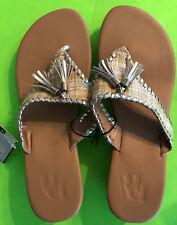 Dana Buchman Ladies' Sandals Tassels TAN/GOLD  Size US 9/10 L  PERF WEDGE RAFFIA