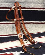 Testiera briglia cavallo western cuoio incisa a mano a orecchio con sottogola
