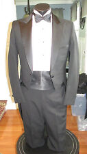 MENS VINTAGE PEAK LAPEL BLACK TAIL TUXEDO PIERRE CARDIN 36L 4 PCS NB5