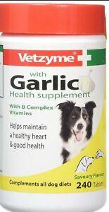 Garlic Tablets Vetzyme Healthy Heart  Coat 240 Tablets B-Complex Vitamins