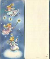 VINTAGE CHRISTMAS BLONDE GIRLS ANGELS LIGHTING STARS  SKY BLUE MCM GREETING CARD