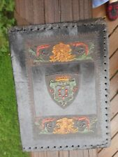 ANTIQUE ITALIAN LEATHER ORNATELY EMBOSSED BOOK COVER