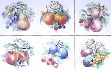 "Artists Fruit Ceramic Accent Tiles 6 of 4.25"" Kiln Fired Decor Back Splash"