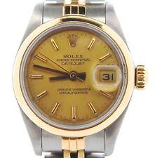 Rolex Datejust Mujer 2tone 18k Oro Amarillo & Reloj de Acero Esfera Champán