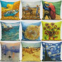 Sofa Oil Vincent Pillow Cushion 18'' Painting gogh Cotton Cover Linen Case van