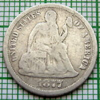 UNITED STATES 1877 CC ONE DIME - 10 CENTS, SEATED LIBERTY, CARSON CITY, SILVER