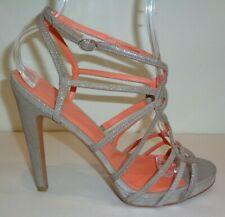 Via Spiga Size 8 M PROMISE Silver Leather Heels Sandals New Womens Shoes