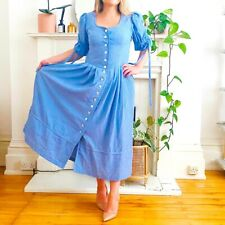 Vintage 80s Blue Gingham Check Cottagecore Milkmaid Checked Maxi Dress Size 14 M