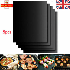 UK 5x BBQ Grill Mat Reusable Resistant Non-Stick Grilling Baking Barbecue Mats