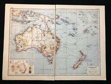 Vintage Atlas Colour Map 1920 - AUSTRALIA (INDUSTRIAL), Harmsworth's Atlas