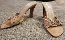 ALDO Women's 'Zaneta' Tan Suede Peep Toe Mule Sandals w Grommets Size 8 NEW
