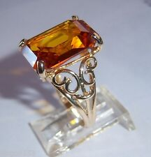BEAUTY LADIES 14K SOLID GOLD OCTAGON EMERALD CUT MAN MADE GOLDEN SAPPHIRE RING