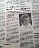 Best STEVE McQUEEN Hollywood Film Actor DEATH 1980 L.A. Los Angeles CA Newspaper