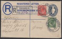 South West Africa 1922 South Africa KGV 5½d blue Registered Letter to Germany