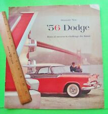 1956 DODGE HUGE DLX (prestige?) COLOR CATALOG Brochure CONVERTIBLE Coupe