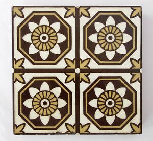 "Three (3) Antique three-colour Encaustic Floor tiles 6 x 6"" – Stoke on Trent"