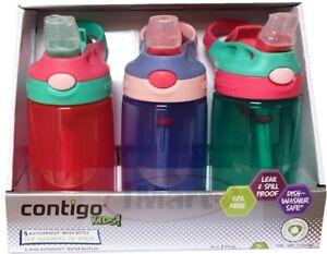Contigo  Kids 3 Autospout Water Bottles for kids BPA FREE Spill Proof Brand New