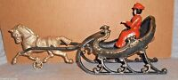 """LADY IN SLEIGH w HORSE Cast Iron Victorian Style Swan Cutter 14 1/2"""" Long 2pc"""