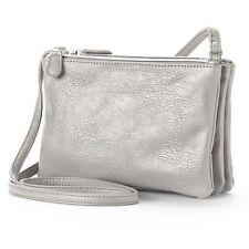 NWT Apt 9 Triple Zip 050 Pewter Faux Leather Crossbody Handbag Purse
