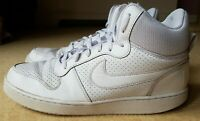 Nike Court Borough Mid Top Triple White Basketball Boot Trainer Size 9 Retro