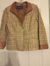 Women's  Overland brown leather jacket blazer gold and black print - EUC