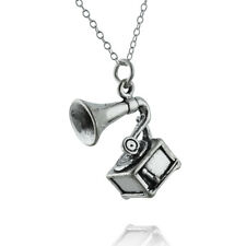 Phonograph Gramophone Charm Necklace 925 Sterling Silver Record Player Gift NEW
