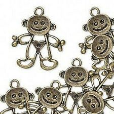 Charm, Drop, Antique Brass plated Pewter, 24x20mm, Baby Boy, 16 Qty